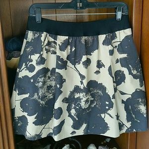 J.Crew pleated abstract flower print skirt